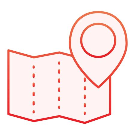 Paper map with pin flat icon. Location red icons in trendy flat style. Map navigation gradient style design, designed for web and app. Eps 10.