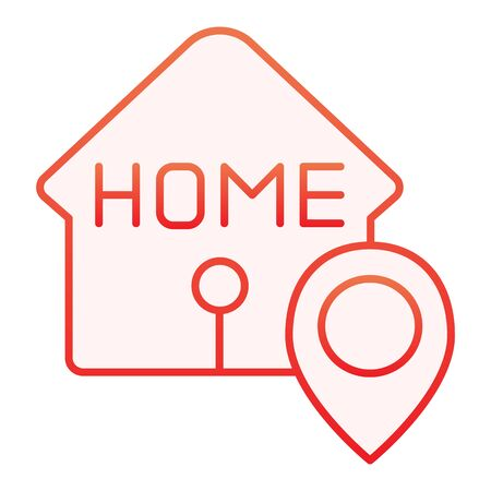 Home location flat icon. House with map pin red icons in trendy flat style. Navigation gradient style design, designed for web and app. Eps 10.