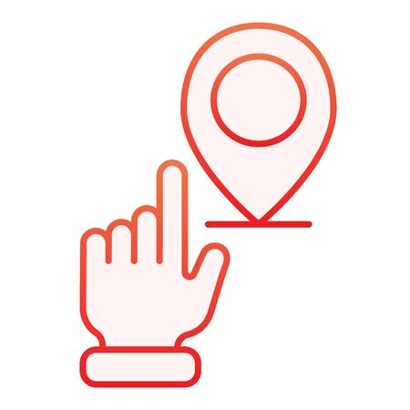 Hand pointing location flat icon. Hand with map pin red icons in trendy flat style. Navigation gradient style design, designed for web and app. Eps 10. Stock Vector - 124705900