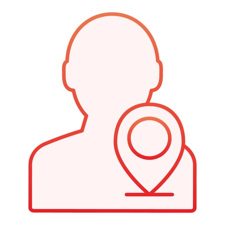 Map pointer with man flat icon. Person location red icons in trendy flat style. Navigation pin with person gradient style design, designed for web and app. Eps 10.