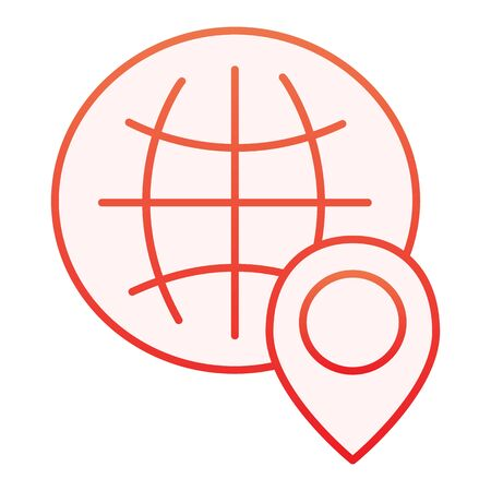 Globe location flat icon. World map with location pin red icons in trendy flat style. Planet navigation gradient style design, designed for web and app. Eps 10.
