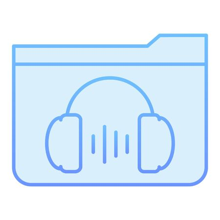 Music folder flat icon. Folder with headphones blue icons in trendy flat style. Media gradient style design, designed for web and app. Eps 10. 向量圖像
