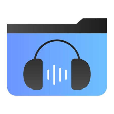 Music folder flat icon. Folder with headphones color icons in trendy flat style. Media gradient style design, designed for web and app. Eps 10.