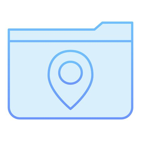 Folder with map pin flat icon. Folder location blue icons in trendy flat style. Folder with a map mark gradient style design, designed for web and app. Eps 10.
