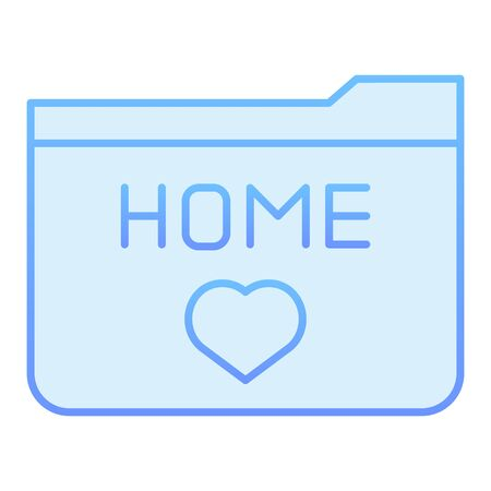 Home folder flat icon. Folder favorites blue icons in trendy flat style. Folder with heart gradient style design, designed for web and app. Eps 10. 向量圖像