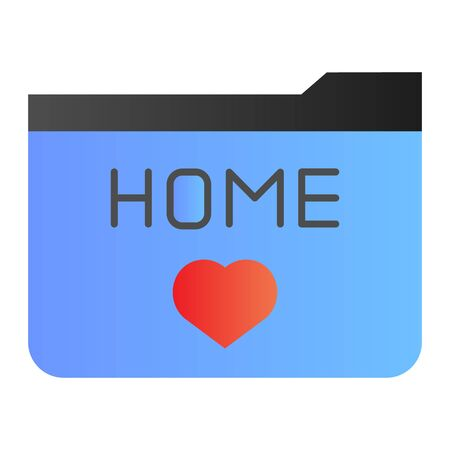 Home folder flat icon. Folder favorites color icons in trendy flat style. Folder with heart gradient style design, designed for web and app. Eps 10.