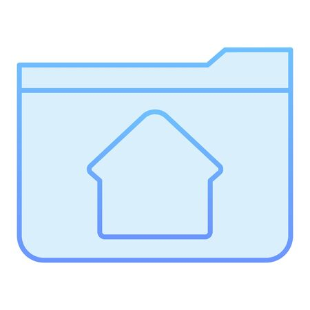 Home folder flat icon. Folder with house blue icons in trendy flat style. Computer folder gradient style design, designed for web and app. Eps 10.