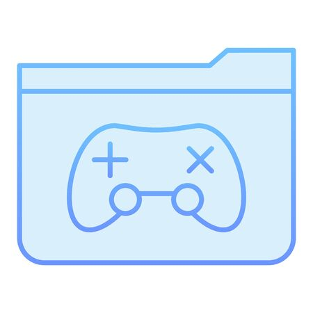 Game folder flat icon. Folder with game pad blue icons in trendy flat style. Computer folder gradient style design, designed for web and app. Eps 10.