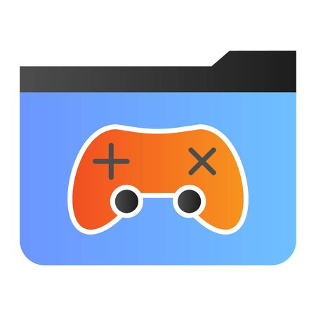 Game folder flat icon. Folder with game pad color icons in trendy flat style. Computer folder gradient style design, designed for web and app. Eps 10. 向量圖像