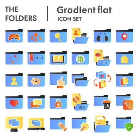 Folder flat icon set, computer folders symbols collection, vector sketches, logo illustrations, files signs color gradient pictograms package isolated on white background, eps 10.