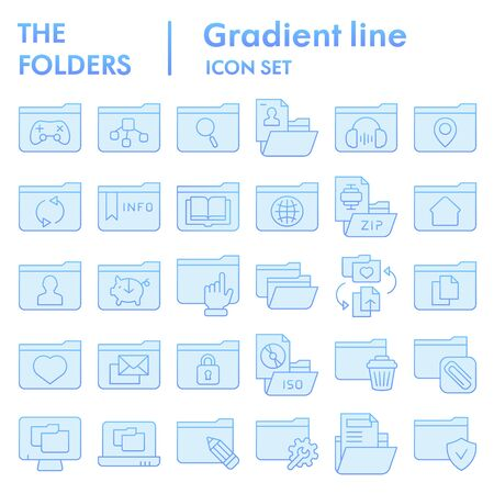 Folder flat icon set, computer folders symbols collection, vector sketches, logo illustrations, files signs blue gradient pictograms package isolated on white background, eps 10. 向量圖像