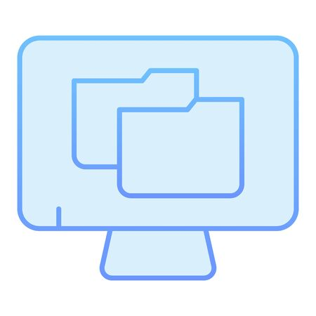 File folder on pc flat icon. Monitor with folder blue icons in trendy flat style. Computer folder gradient style design, designed for web and app. Eps 10.
