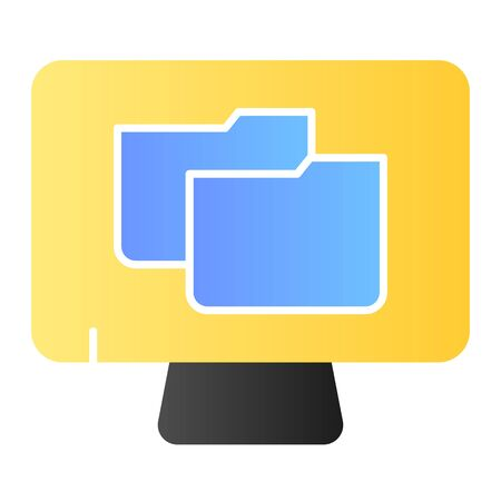 File folder on pc flat icon. Monitor with folder color icons in trendy flat style. Computer folder gradient style design, designed for web and app. Eps 10. 向量圖像