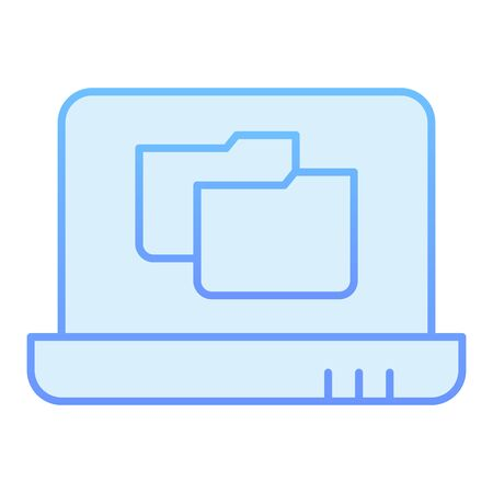 Laptop folder flat icon. File folder on notebook blue icons in trendy flat style. Computer folder gradient style design, designed for web and app. Eps 10. 向量圖像