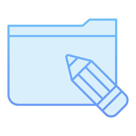 Folder with pencil flat icon. Folder with sketches blue icons in trendy flat style. Computer folder gradient style design, designed for web and app. Eps 10. Illustration