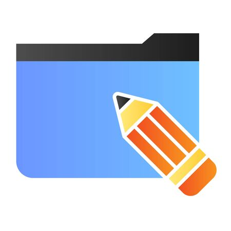 Folder with pencil flat icon. Folder with sketches color icons in trendy flat style. Computer folder gradient style design, designed for web and app. Eps 10.