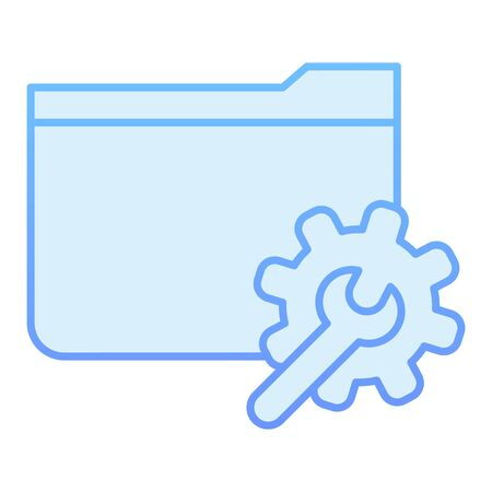Folder with gear flat icon. Settings folder blue icons in trendy flat style. Computer folder gradient style design, designed for web and app. Eps 10.
