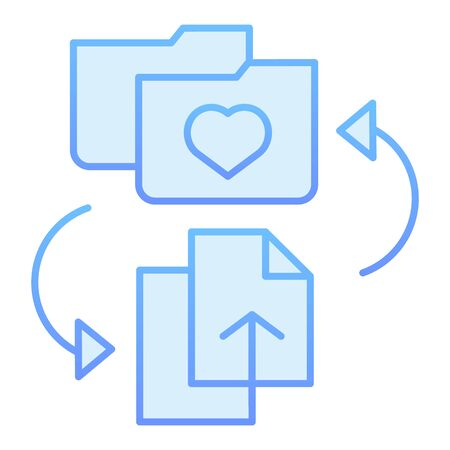 Favorites folder flat icon. Add files to folder blue icons in trendy flat style. Folder with heart gradient style design, designed for web and app. Eps 10.