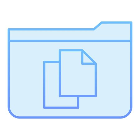 File folder flat icon. Folder with documents blue icons in trendy flat style. Computer folder gradient style design, designed for web and app. Eps 10.