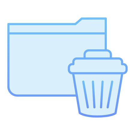 Delete folder flat icon. Remove folder to basket blue icons in trendy flat style. Folder with bin gradient style design, designed for web and app. Eps 10.