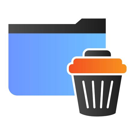 Delete folder flat icon. Remove folder to basket color icons in trendy flat style. Folder with bin gradient style design, designed for web and app. Eps 10.