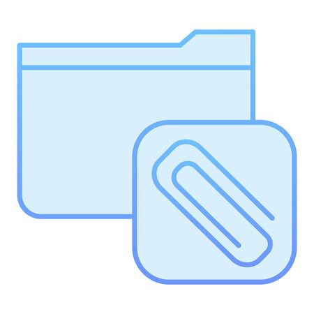 Attached folder flat icon. Folder with clip blue icons in trendy flat style. Computer folder gradient style design, designed for web and app. Eps 10.