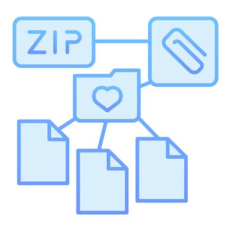 ZIP folder flat icon. Archive folder blue icons in trendy flat style. Computer folder gradient style design, designed for web and app. Eps 10. 向量圖像