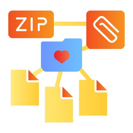 ZIP folder flat icon. Archive folder color icons in trendy flat style. Computer folder gradient style design, designed for web and app. Eps 10.