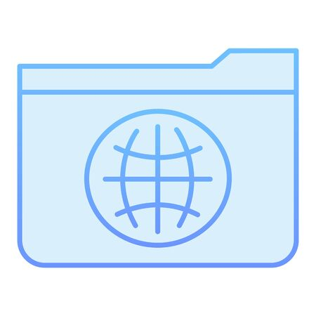 Public folder flat icon. Folder with globe blue icons in trendy flat style. Computer folder gradient style design, designed for web and app. Eps 10.