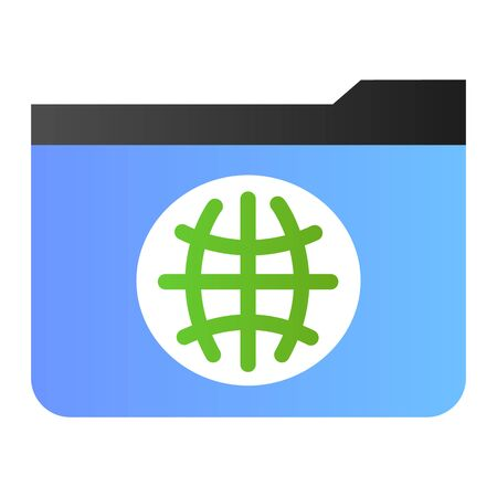 Public folder flat icon. Folder with globe color icons in trendy flat style. Computer folder gradient style design, designed for web and app. Eps 10. Stock Illustratie