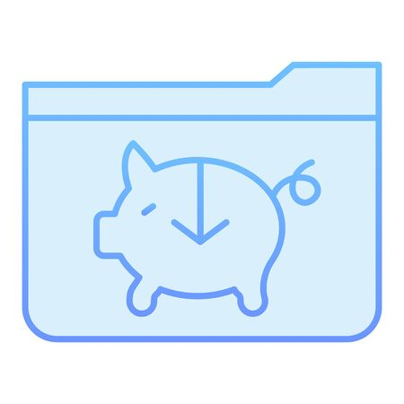 Banking folder flat icon. Piggy bank folder blue icons in trendy flat style. Computer folder gradient style design, designed for web and app. Eps 10. 向量圖像
