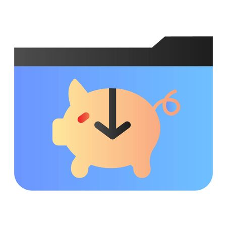 Banking folder flat icon. Piggy bank folder color icons in trendy flat style. Computer folder gradient style design, designed for web and app. Eps 10.
