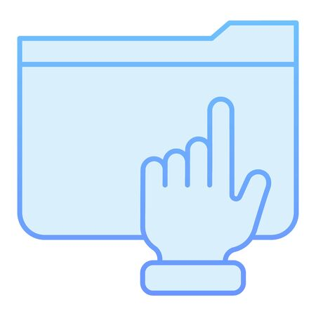 Hand on folder flat icon. Folder with arm blue icons in trendy flat style. Computer folder gradient style design, designed for web and app. Eps 10.