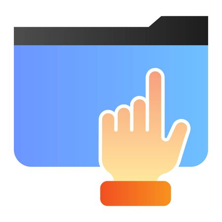 Hand on folder flat icon. Folder with arm color icons in trendy flat style. Computer folder gradient style design, designed for web and app. Eps 10. 向量圖像