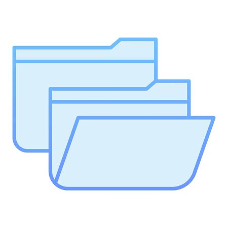 Folders flat icon. Two file folders blue icons in trendy flat style. Computer folder gradient style design, designed for web and app. Eps 10.
