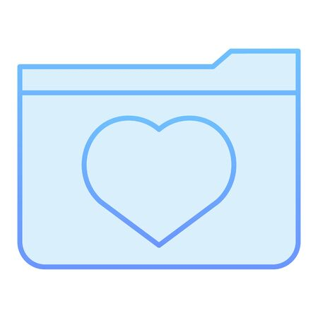 Favourites folder flat icon. File folder with heart blue icons in trendy flat style. Computer folder gradient style design, designed for web and app. Eps 10.