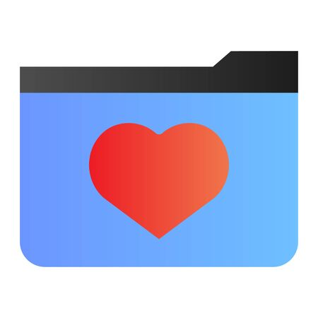 Favourites folder flat icon. File folder with heart color icons in trendy flat style. Computer folder gradient style design, designed for web and app. Eps 10.