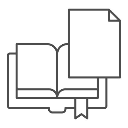 Book page thin line icon. Sheet with book vector illustration isolated on white. Paper outline style design, designed for web and app. Eps 10. Illustration