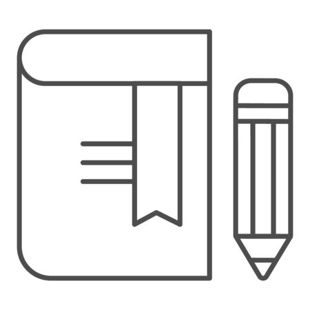 Book with pencil thin line icon. Bookmark vector illustration isolated on white. Knowledge outline style design, designed for web and app. Eps 10.