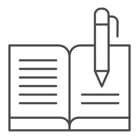 Guest book with pen thin line icon. Registry book vector illustration isolated on white. Writing outline style design, designed for web and app. Eps 10.