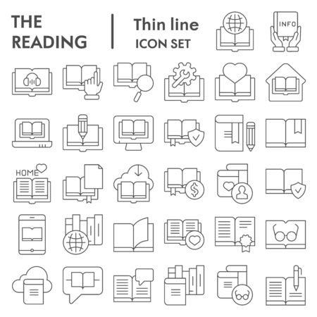Reading thin line icon set, books symbols collection, vector sketches, logo illustrations, education signs linear pictograms package isolated on white background, eps 10.
