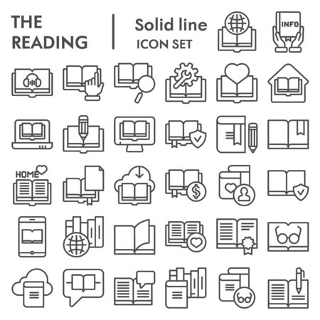 Reading line icon set, books symbols collection, vector sketches, logo illustrations, education signs linear pictograms package isolated on white background, eps 10.