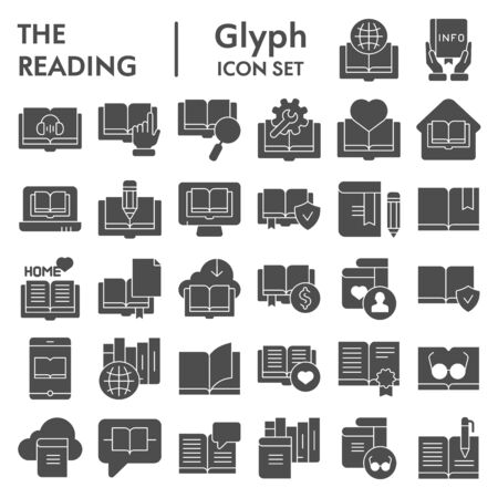 Reading glyph icon set, books symbols collection, vector sketches, logo illustrations, education signs solid pictograms package isolated on white background, eps 10. Stock Illustratie