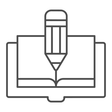 Book and pencil thin line icon. Book edit vector illustration isolated on white. Knowledge outline style design, designed for web and app. Eps 10.