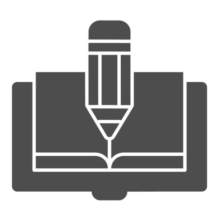 Book and pencil solid icon. Book edit vector illustration isolated on white. Knowledge glyph style design, designed for web and app. Eps 10.
