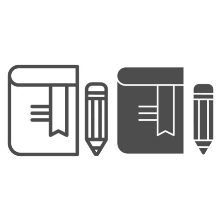 Book with pencil line and glyph icon. Bookmark vector illustration isolated on white. Knowledge outline style design, designed for web and app. Eps 10 Ilustrace