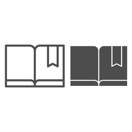 Bookmark with book line and glyph icon. Read vector illustration isolated on white. Knowledge outline style design, designed for web and app. Eps 10