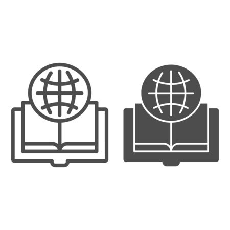 Foreign language book line and glyph icon. Opened book vector illustration isolated on white. Globe and book outline style design, designed for web and app. Eps 10.