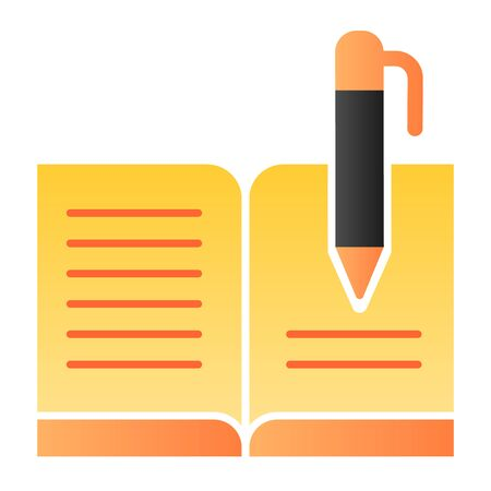 Guest book with pen flat icon. Registry book color icons in trendy flat style. Writing gradient style design, designed for web and app. Eps 10.