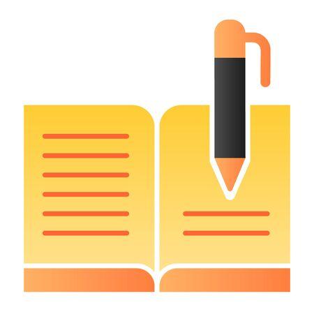 Libro de visitas con icono de pluma plana. Iconos de color de libro de registro en estilo plano de moda. Diseño de estilo degradado de escritura, diseñado para web y aplicaciones. Eps 10.